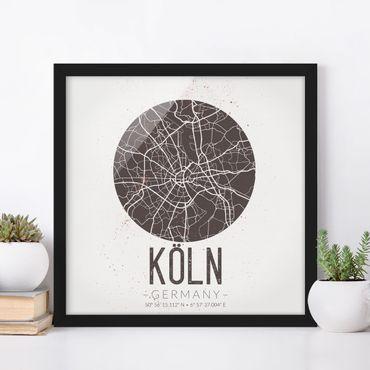 Poster con cornice - Mappa Colonia - Retro