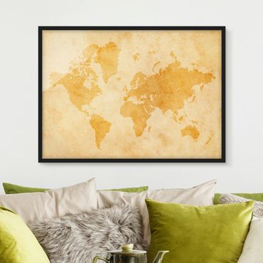 Poster con cornice - Vintage World Map - Orizzontale 3:4