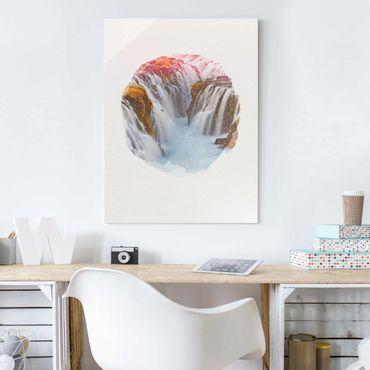 Quadro in vetro - Acquarelli - Bruarfoss cascata in Islanda - Verticale 4:3
