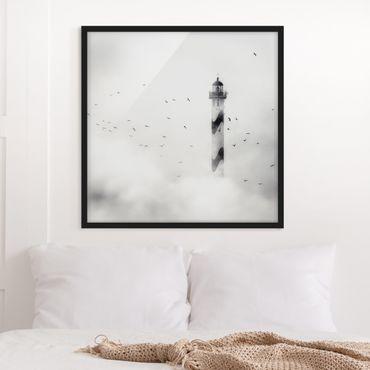 Poster con cornice - Lighthouse In The Fog - Quadrato 1:1