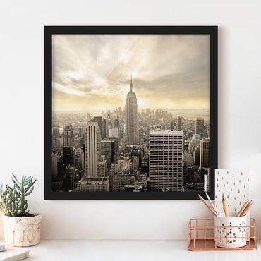 Poster con cornice - Manhattan Dawn - Quadrato 1:1