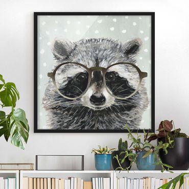 Poster con cornice - Animals With Glasses - Raccoon - Quadrato 1:1