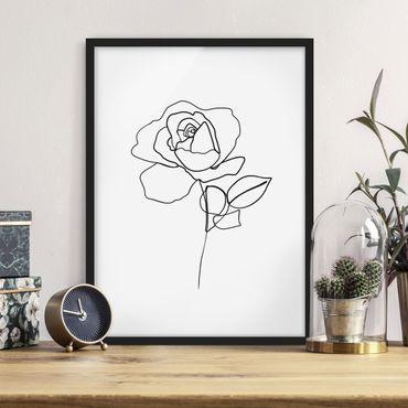 Poster con cornice - Line Art Rosa Nero Bianco - Verticale 4:3