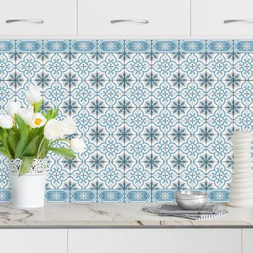 Rivestimento cucina - Piastrelle geometriche mix croci blu grigio