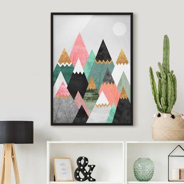 Poster con cornice - Triangolari Monti con suggerimenti d'oro - Verticale 4:3