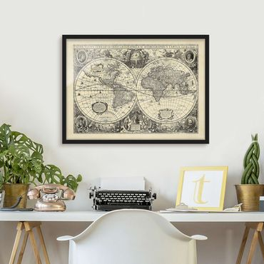 Poster con cornice - Illustrazione Vintage Mappa del mondo antico - Orizzontale 3:4