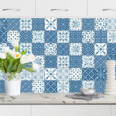 Rivestimento cucina - Motivo piastrelle Mix blu bianco