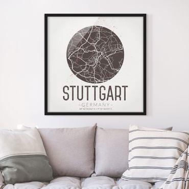 Poster con cornice - Mappa Stoccarda - Retro