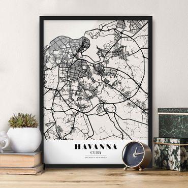 Poster con cornice - Havana City Map - Classic - Verticale 4:3