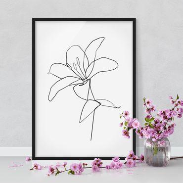 Poster con cornice - Fiore Line Art Nero Bianco - Verticale 4:3