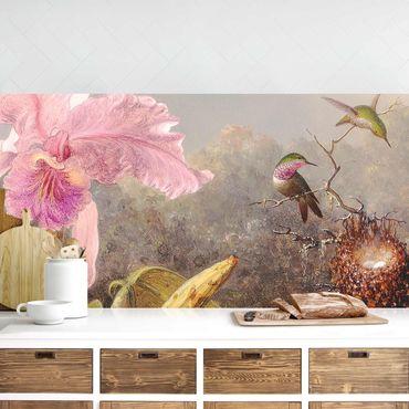 Rivestimento cucina - Martin Johnson Heade - Orchidea e tre colibrì