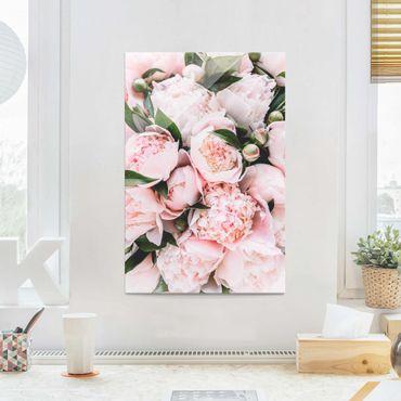 Quadro in vetro - Peonie rosa con foglie - Verticale 3:2