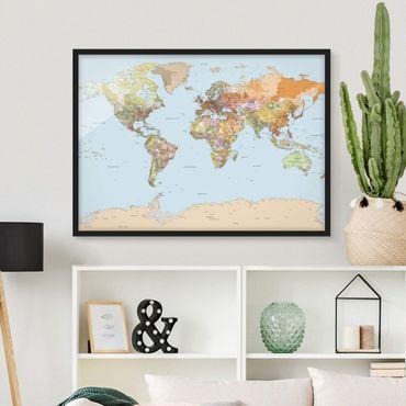 Poster con cornice - Political World Map - Orizzontale 3:4