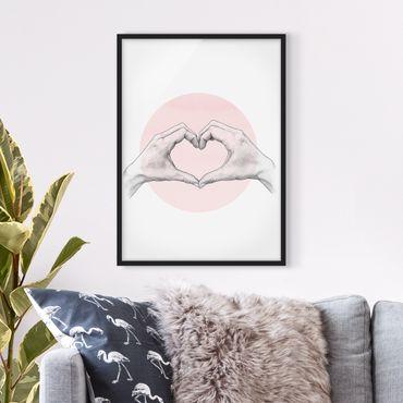 Poster con cornice - Illustrazione Cuore cerchio mani Rosa Bianco - Verticale 4:3
