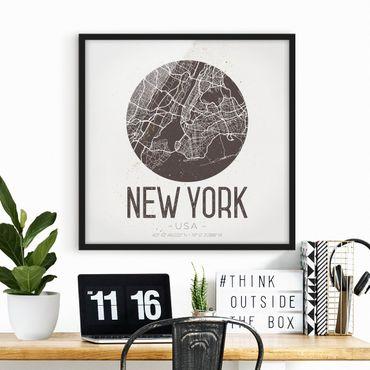 Poster con cornice - Mappa New York - Retro