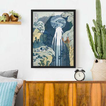 Poster con cornice - Katsushika Hokusai - The Waterfall Of Amida Behind The Kiso Road - Verticale 4:3