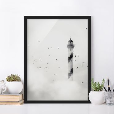 Poster con cornice - Lighthouse In The Fog - Verticale 4:3