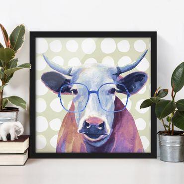 Poster con cornice - Animals With Glasses - Cow - Quadrato 1:1