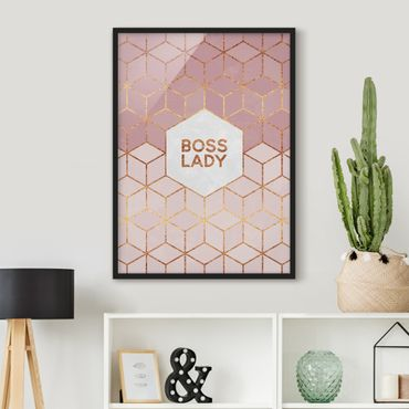 Poster con cornice - Boss Pink Lady esagoni - Verticale 4:3