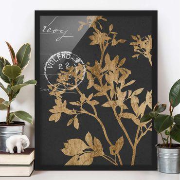 Poster con cornice - Foglie D'Oro Su Mocha II - Verticale 4:3