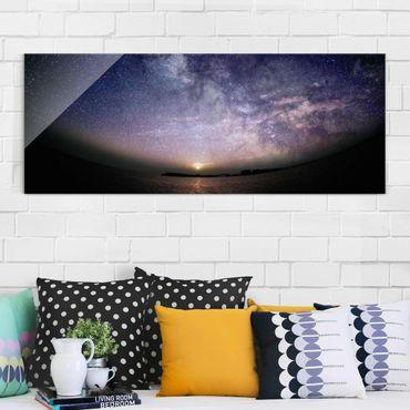 Quadro in vetro - Sole e le stelle in mare - Panoramico