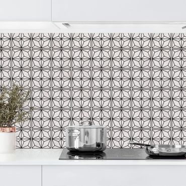 Rivestimento cucina - Motivo piastrelle stelle geometriche nero