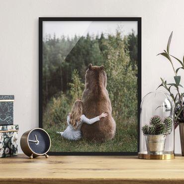 Poster con cornice - Ragazza Con Brown Bear - Verticale 4:3