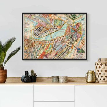 Poster con cornice - Modern Map Of Boston - Orizzontale 3:4