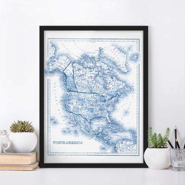 Poster con cornice - Mappa In Toni Di Blu - America Del Nord - Verticale 4:3