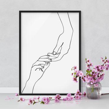 Poster con cornice - Linea Mani d'arte Toccando Bianco e nero - Verticale 4:3