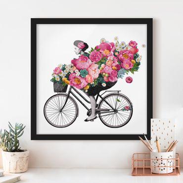 Poster con cornice - Illustrazione Donna in bicicletta Collage fiori variopinti - Quadrato 1:1