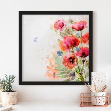Poster con cornice - Watercolor Poppy Flowers - Quadrato 1:1