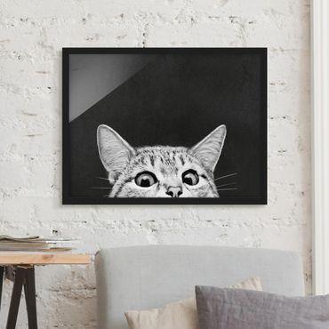 Poster con cornice - Illustrazione Gatto Bianco e nero Disegno - Orizzontale 3:4