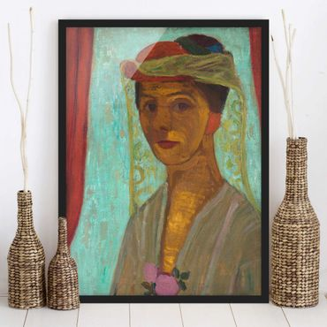 Poster con cornice - Paula Modersohn-Becker - Self-Portrait With A Hat And Veil - Verticale 4:3