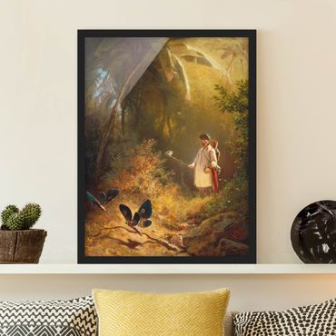 Poster con cornice - Carl Spitzweg - The Butterfly Hunter - Verticale 4:3