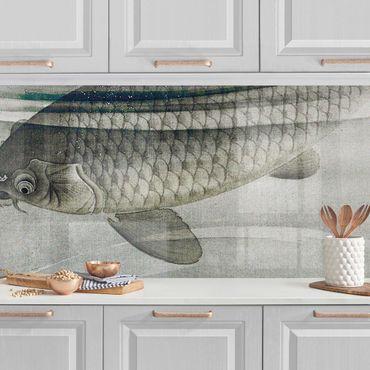 Rivestimento cucina - Illustrazione vintage di pesce asiatico III
