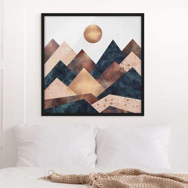 Poster con cornice - Geometrico Monti bronzo - Quadrato 1:1