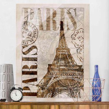 Quadro in vetro - Shabby Chic Collage - Parigi - Verticale 4:3