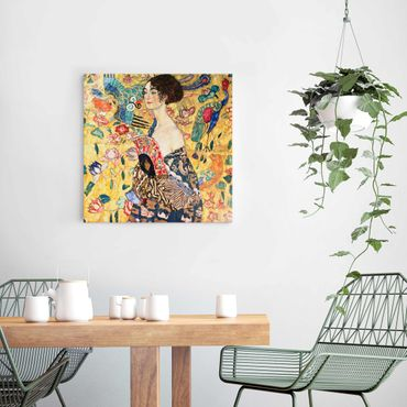 Quadro in vetro - Gustav Klimt - Donna con ventaglio - Quadrato 1:1