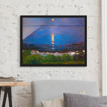 Poster con cornice - Edvard Munch - Summer Night On The Sea Beach - Orizzontale 3:4