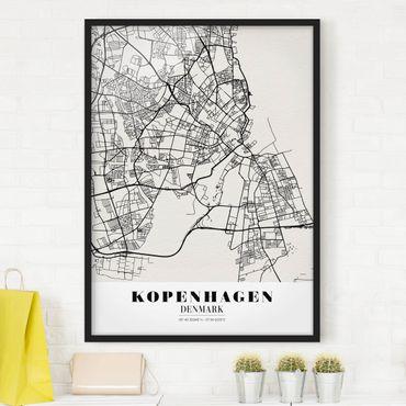 Poster con cornice - Copenhagen City Map - Classic - Verticale 4:3
