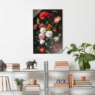 Quadro in vetro - Jan Davidsz De Heem - Natura morta con fiori in un vaso di vetro - Verticale 3:2