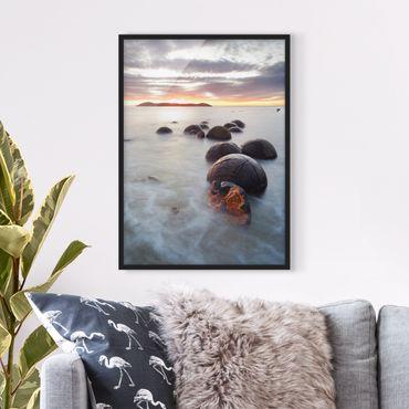 Poster con cornice - Moeraki New Zealand - Verticale 4:3