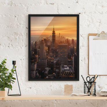 Poster con cornice - Manhattan Skyline Evening