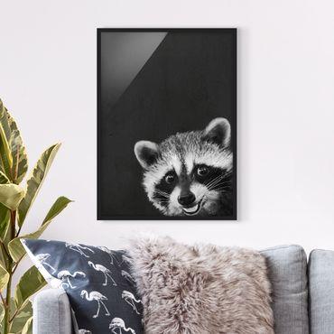 Poster con cornice - Illustrazione Raccoon Monochrome Pittura - Verticale 4:3
