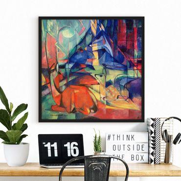 Poster con cornice - Franz Marc - Cervi nella foresta