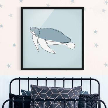 Poster con cornice - Turtle Line Art - Quadrato 1:1