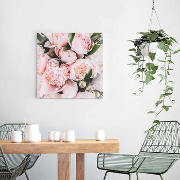 Quadro in vetro - Peonie rosa con foglie - Quadrato 1:1