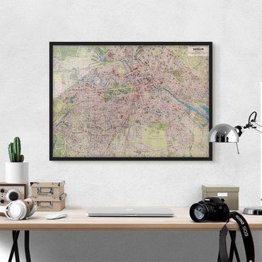Poster con cornice - Vintage Mappa Berlino - Orizzontale 3:4
