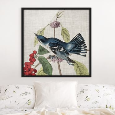 Poster con cornice - Bird On Linen Pink II - Quadrato 1:1